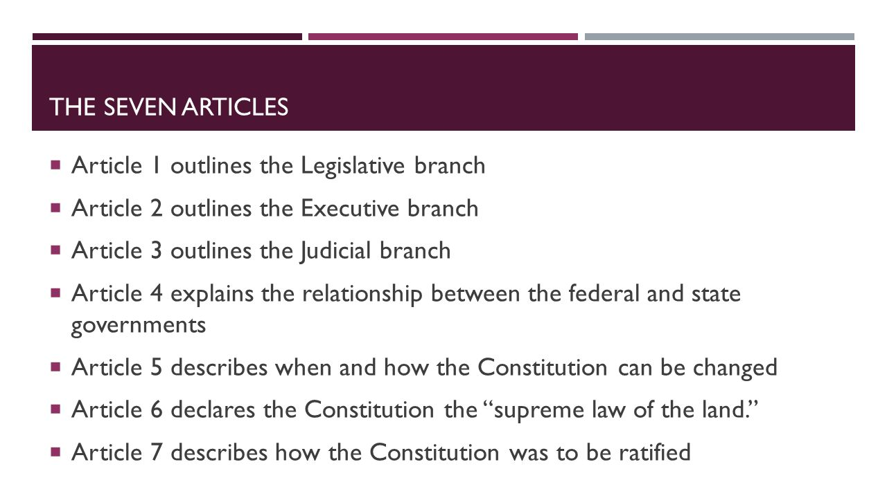 The seven articles Article 1 outlines the Legislative branch. Article 2 outlines the Executive branch.