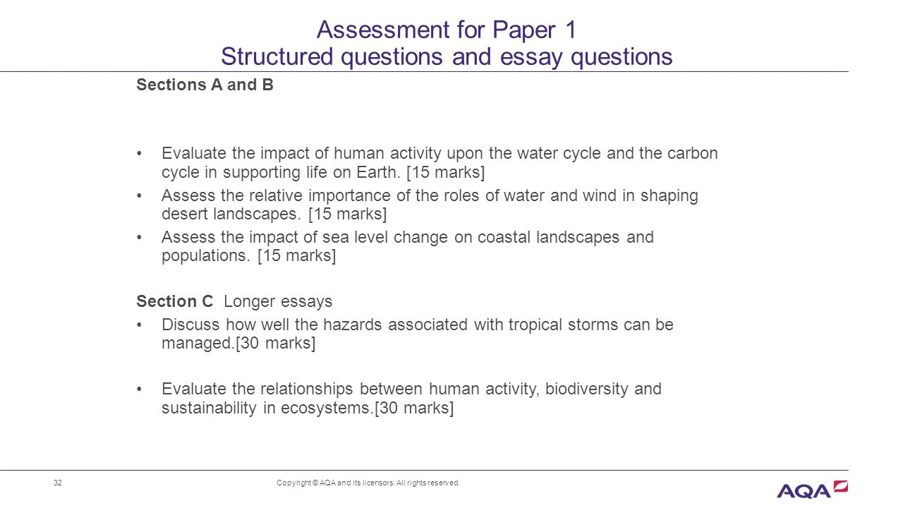 as a level geography for first teaching in ppt assessment for paper 1 structured questions and essay questions