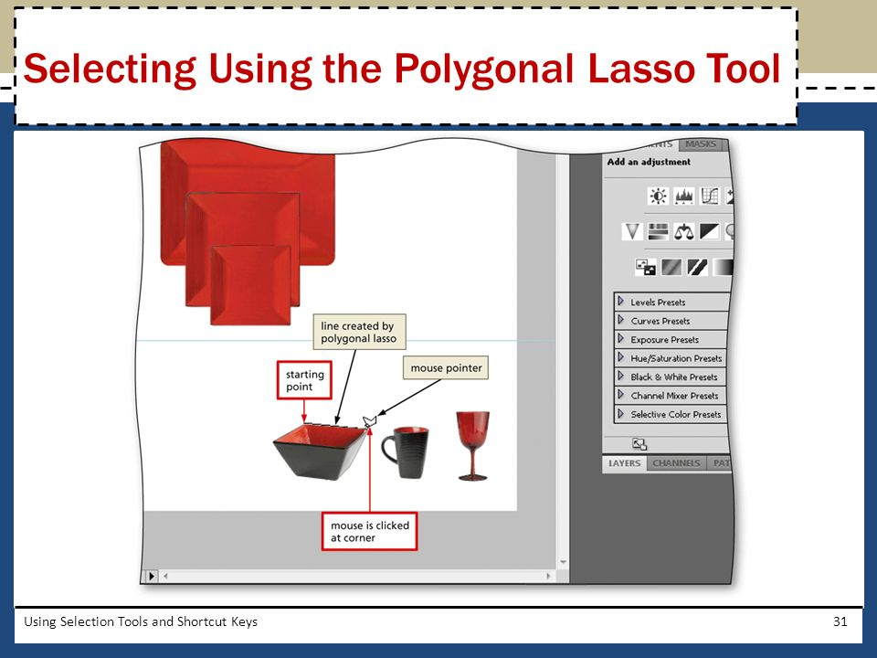 how to use polygonal lasso tool