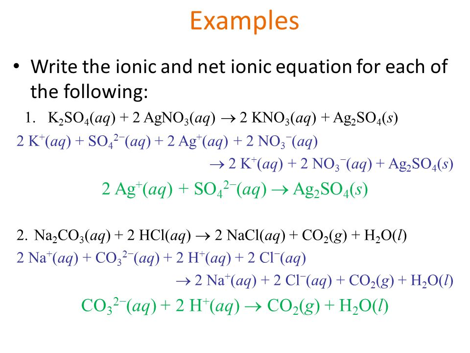 write the net ionic equation A chemical equation that contains only the player ions is called the net ionic equation (nie) to get the nie (1) write out all soluble compounds as ions and (2) eliminate ions common to both reactants and products.