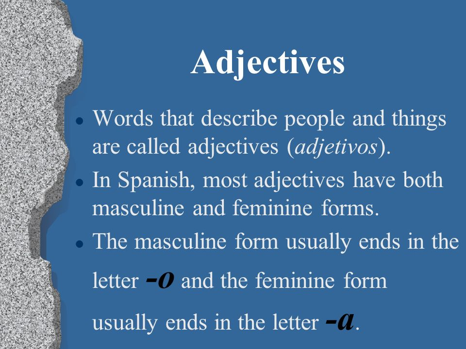 AdjectivesWords that describe people and things are called adjectives (adjetivos).