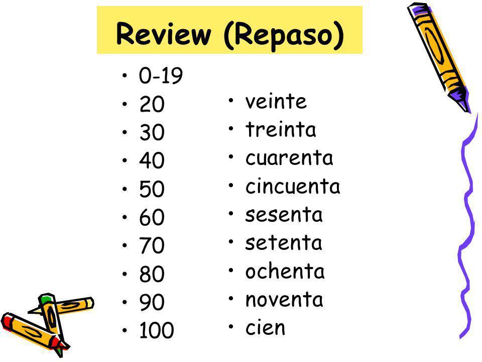 Review (Repaso) 0-19 veinte 20 treinta 30 cuarenta 40 cincuenta 50
