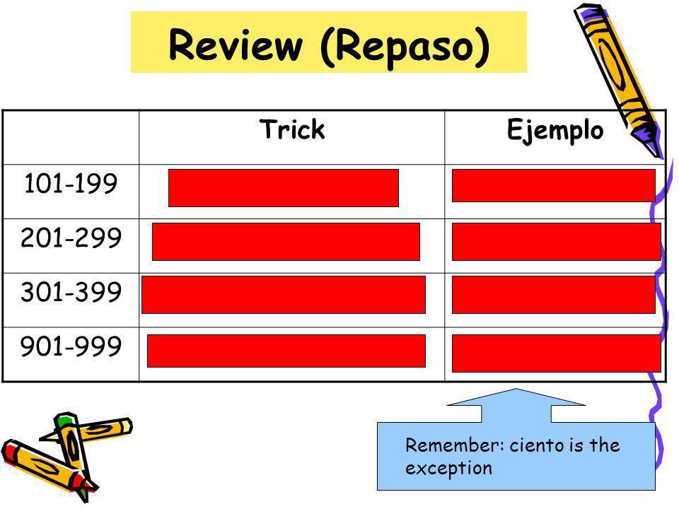 Review (Repaso) Trick Ejemplo 101-199 ciento + número cientodos