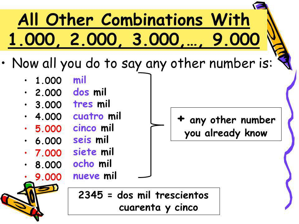 All Other Combinations With 1.000, 2.000, 3.000,…, 9.000