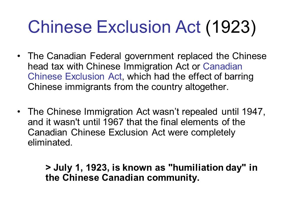 the chinese exclusion act should be repealed The chinese exclusion repeal act seventy-eighth congress session i 1943 chapter 344 an act to repeal the chinese exclusion acts, to establish quotas, and for other purposes.
