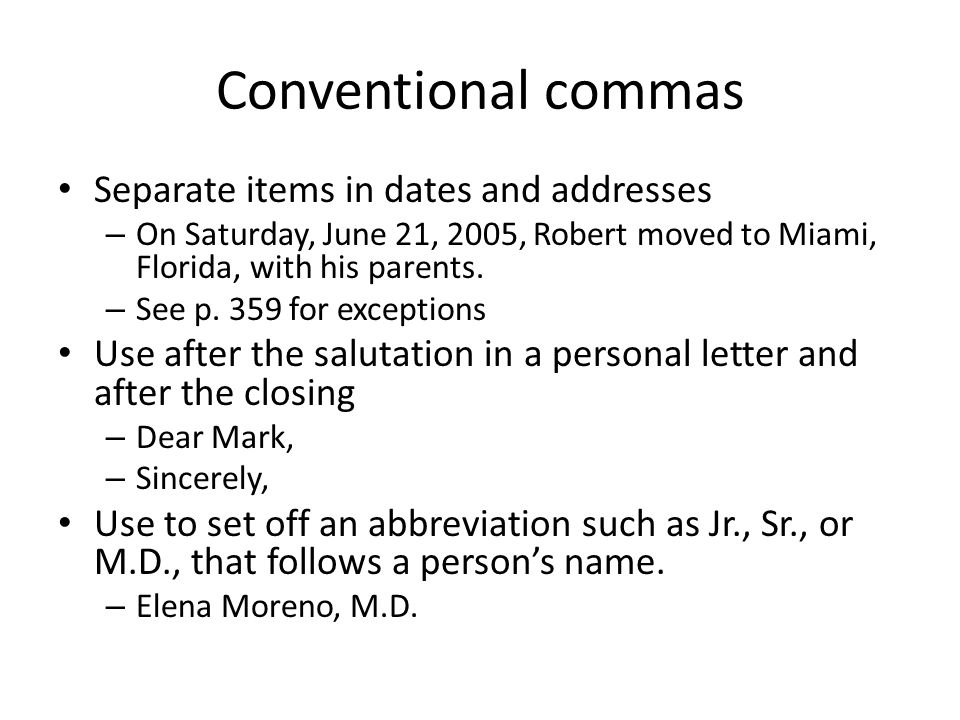 Dates and commas