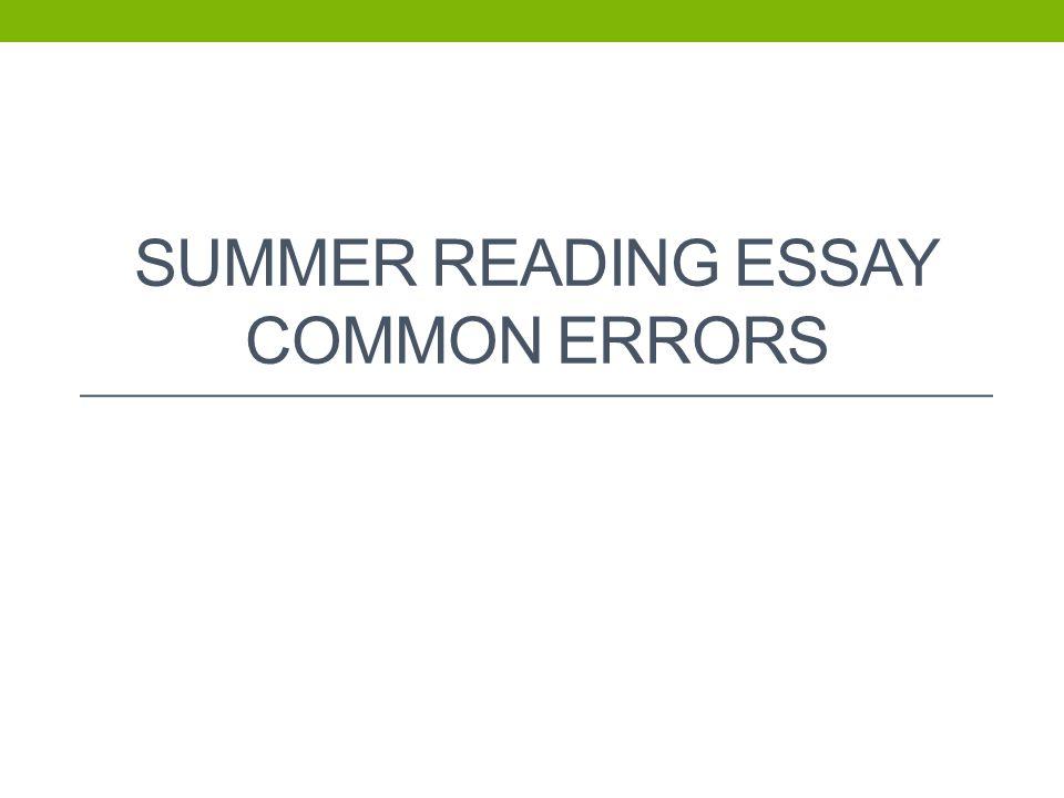 Essay Topics High School  Sample Narrative Essay High School also Narrative Essay Examples High School Summer Reading Essay Common Errors  Ppt Video Online Download Essay Learning English