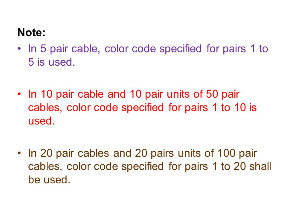External plant ppt download note in 5 pair cable color code specified for pairs 1 to 5 is sciox Images