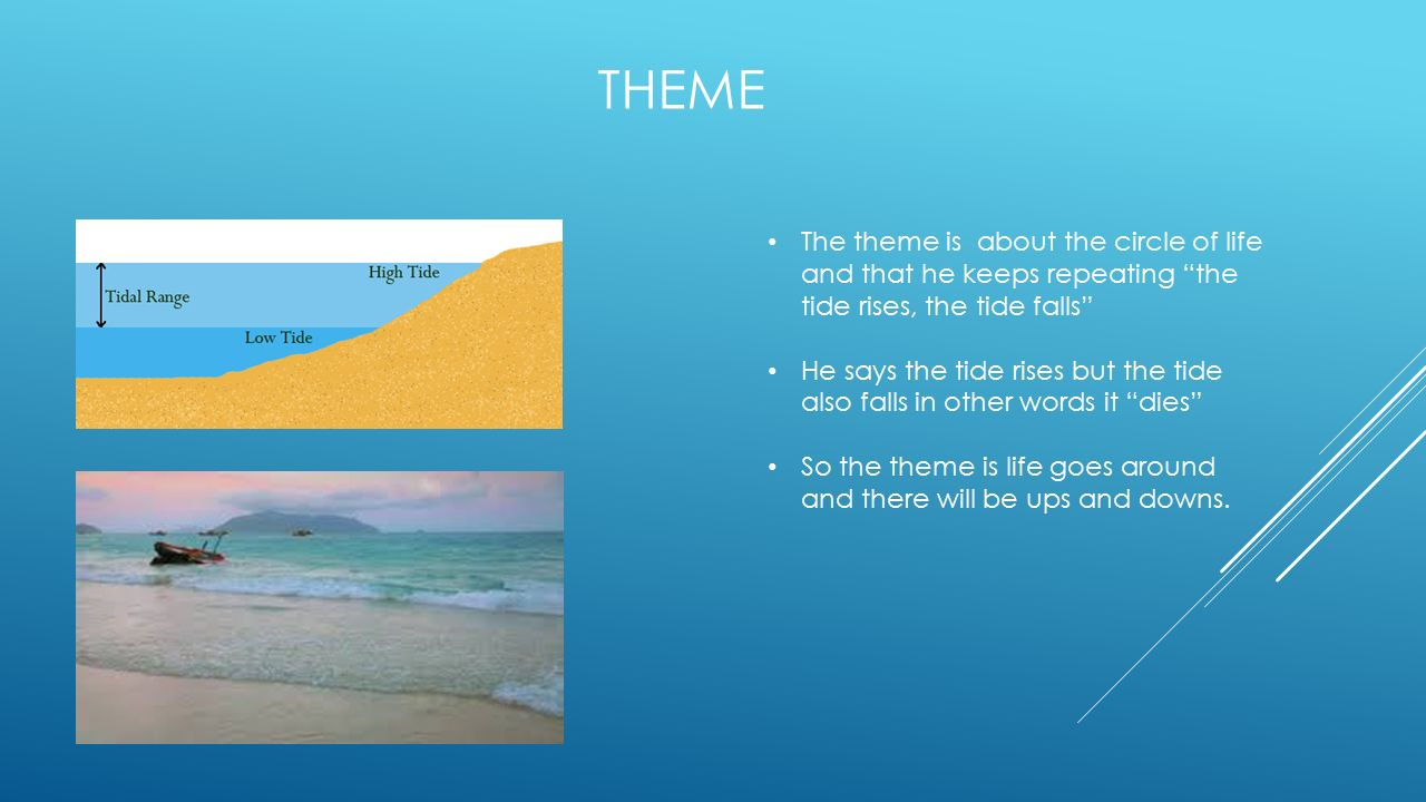 Theme The theme is about the circle of life and that he keeps repeating the tide rises, the tide falls