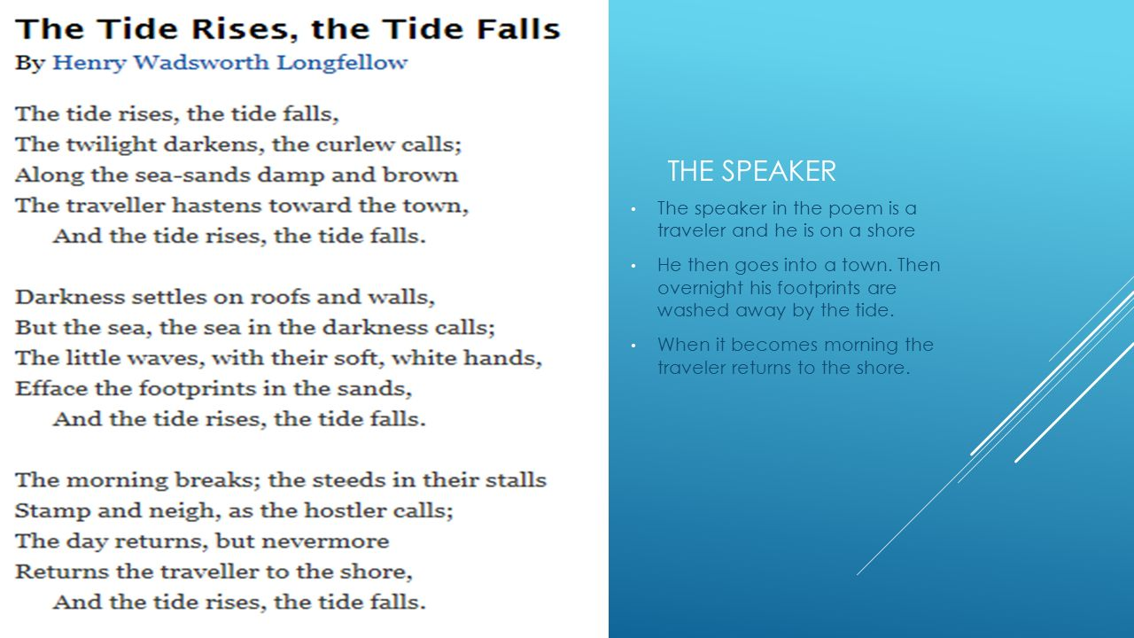 The speaker The speaker in the poem is a traveler and he is on a shore