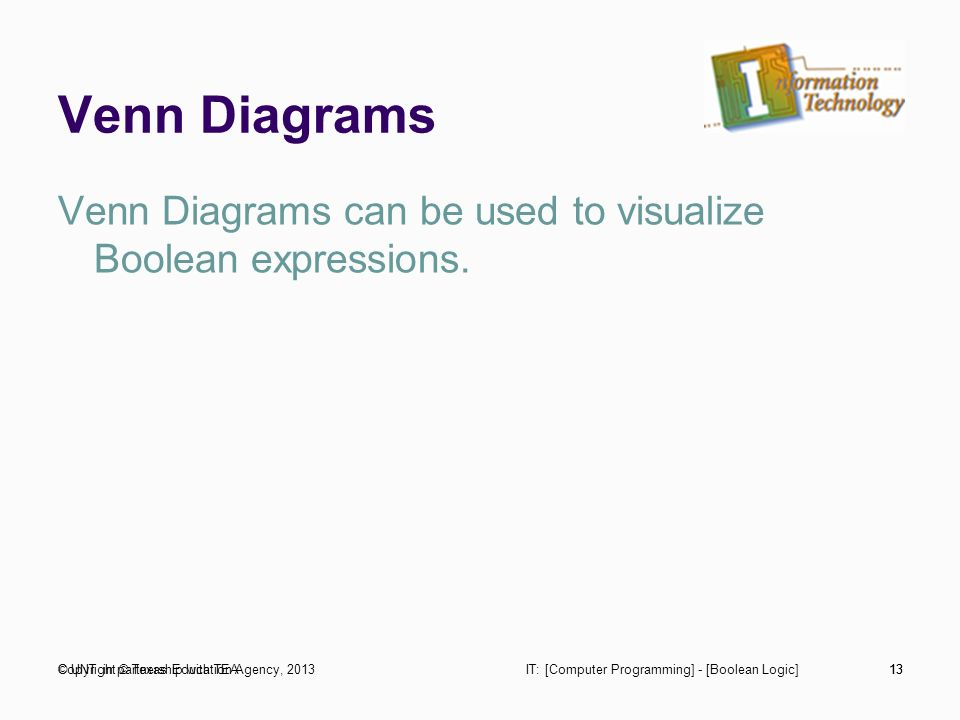 Computer programming boolean logic trade industrial education 13 venn diagrams venn diagrams can be used to visualize boolean expressions ccuart Choice Image