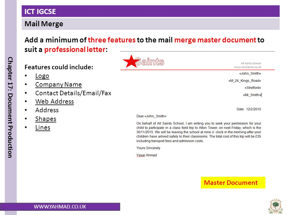Only merge the letter to students from stretford and swinton ppt add a minimum of three features to the mail merge master document to suit a professional spiritdancerdesigns Image collections