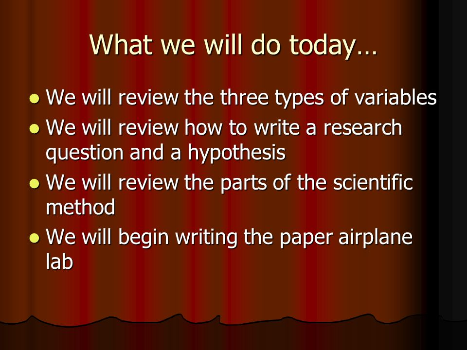 How do you write a scientific method paper