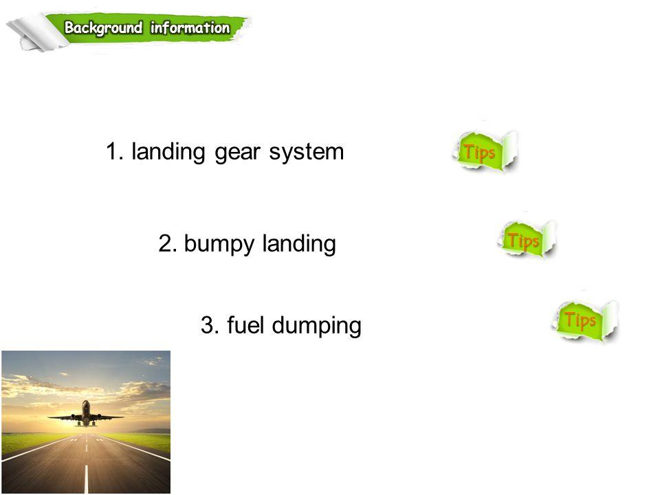 1. landing gear system 2. bumpy landing 3. fuel dumping Tips
