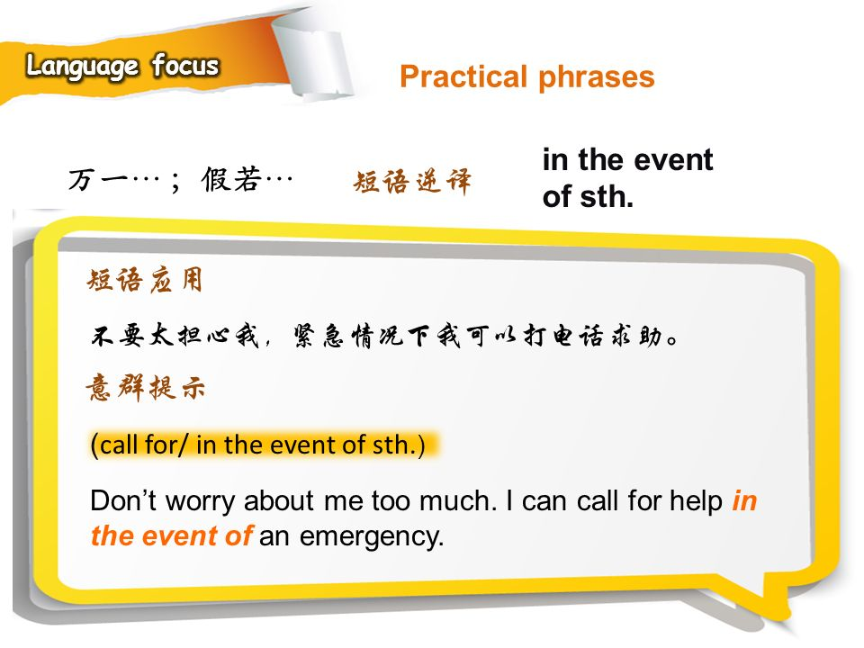 Practical phrases in the event of sth. 万一… ;假若… 短语逆译 短语应用 意群提示