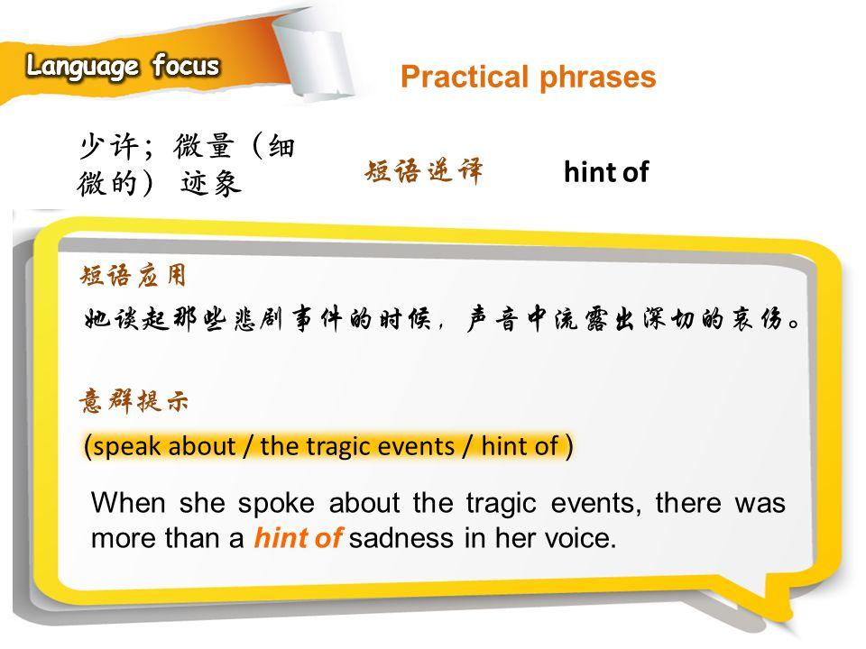 Practical phrases 少许;微量(细微的) 迹象 短语逆译 hint of 短语应用