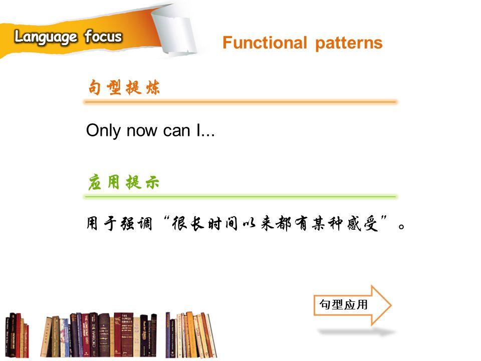 句型提炼 应用提示 Functional patterns Only now can I... 用于强调 很长时间以来都有某种感受 。
