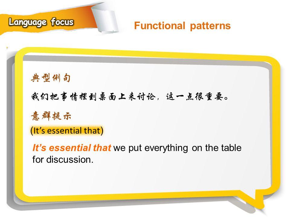 Functional patterns 典型例句 意群提示 我们把事情摆到桌面上来讨论,这一点很重要。