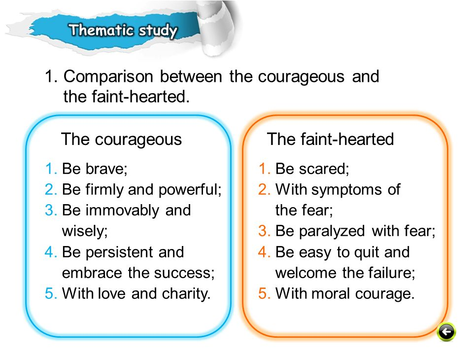 1. Comparison between the courageous and the faint-hearted.