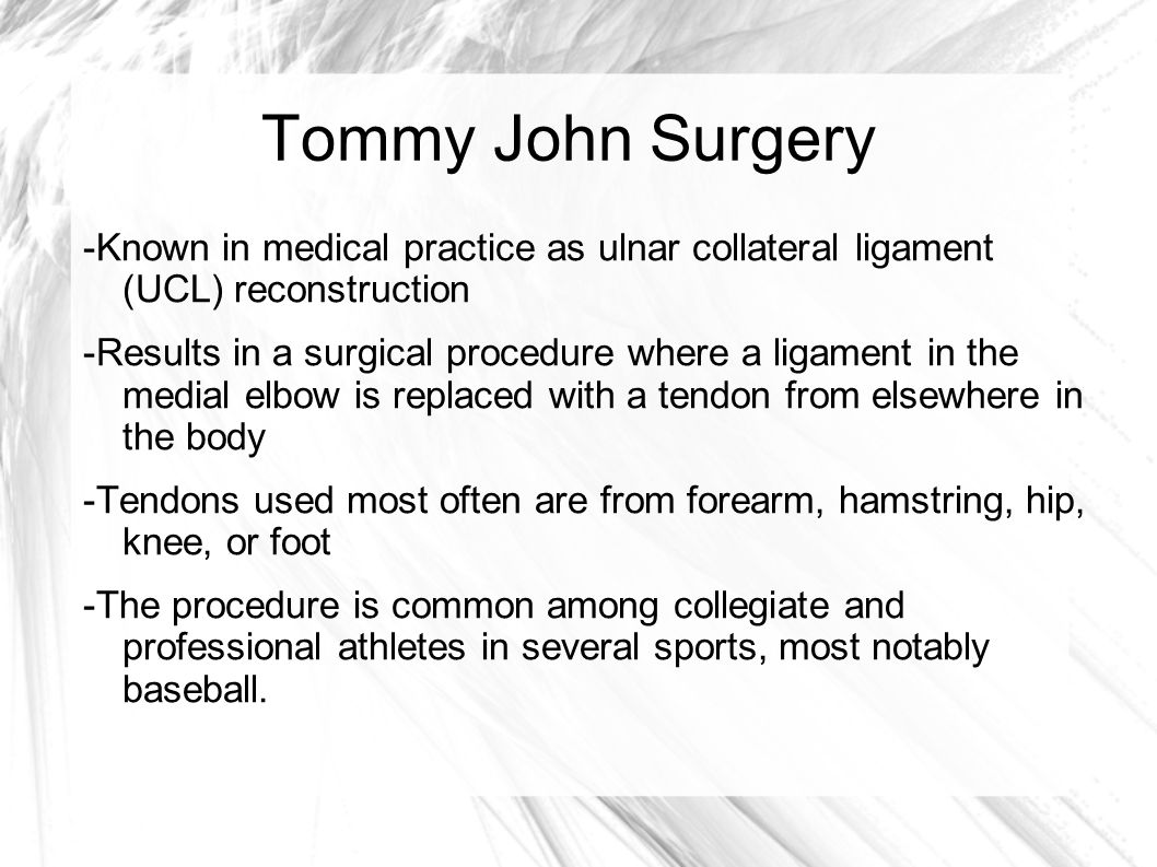 tommy john surgery essay Tommy john surgery a preventable procedure [essay] 6 khou finds new home what you don't hear is that 25 percent of tommy john surgery players never play.