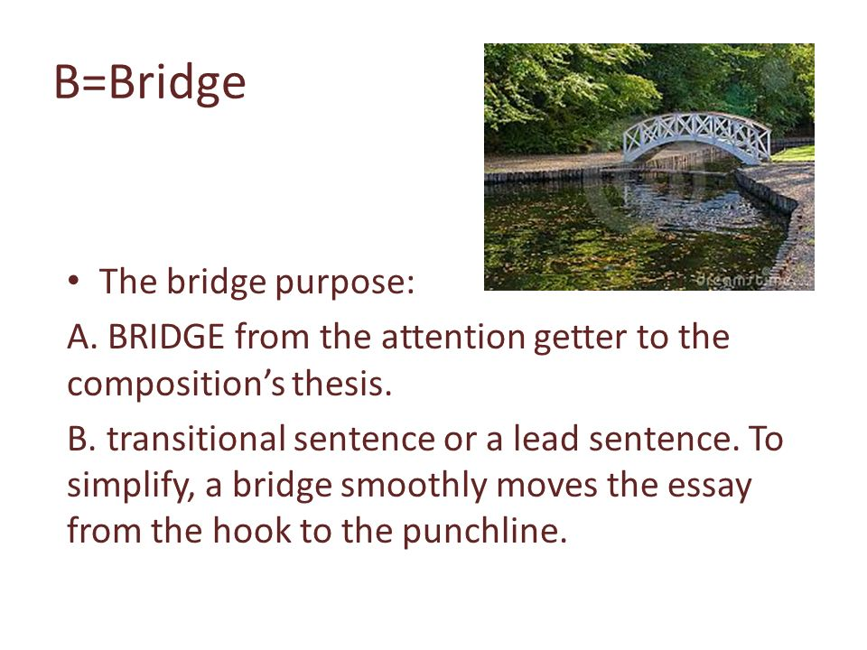 How to write a bridege in a essay
