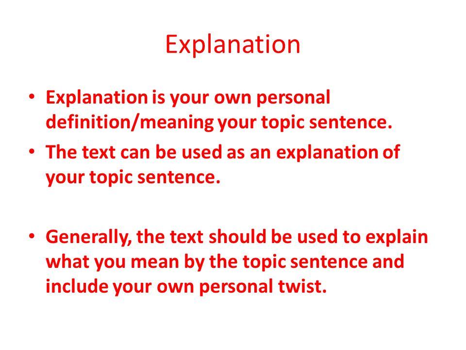 how to write a good explanation sentence
