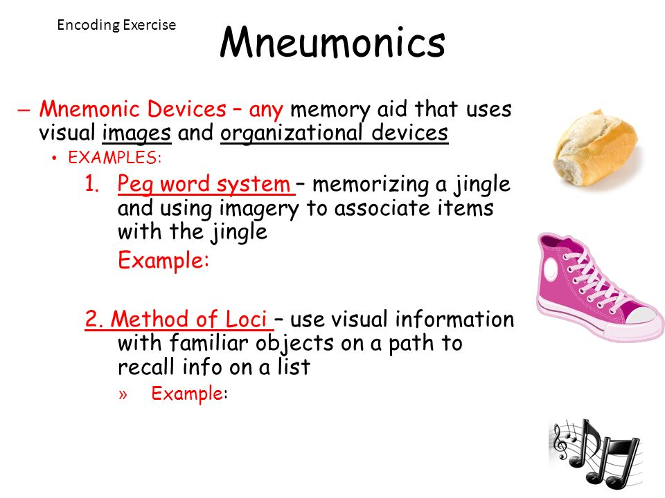 an analysis of the use of mnemonic devices to help aid memory recall Perhaps you will find that a combination of teacher-created and student-generated mnemonic strategies is the best way to enhance recall and still promote independent strategy use summary although many changes in schooling have taken place in recent years, memory for academic content remains an extremely important part of the school learning .