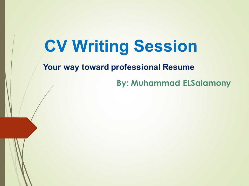 Your way toward professional Resume ppt video online download