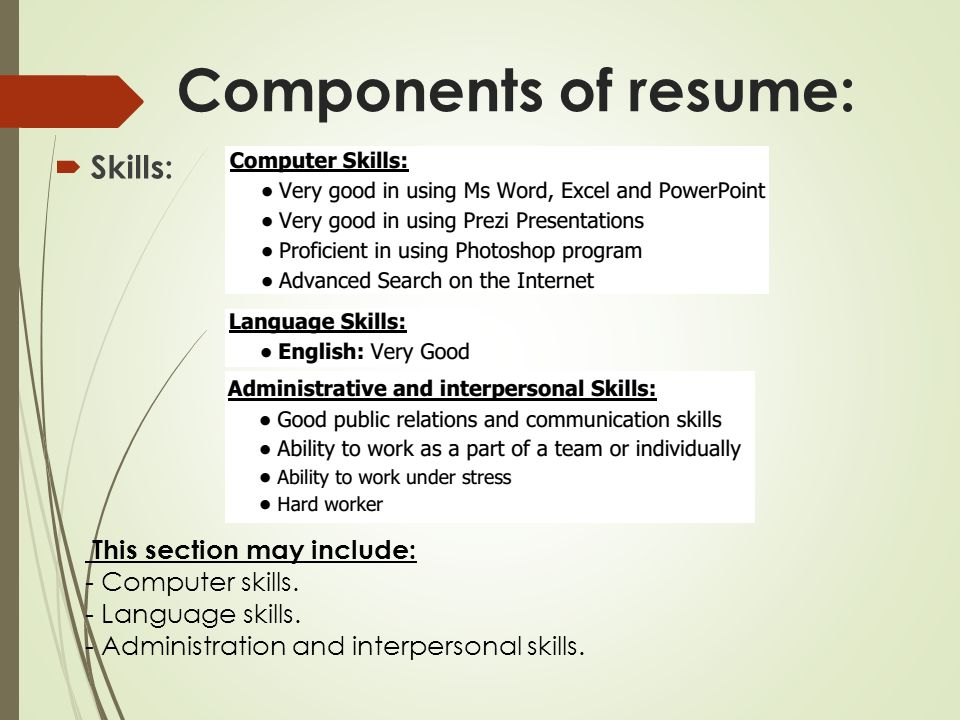 Components Of Resume: Skills: This Section May Include:  Skills To Include In A Resume