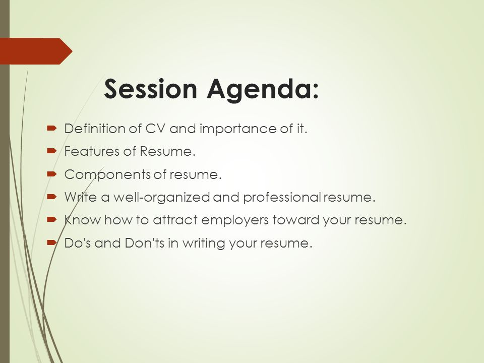 session agenda definition of cv and importance of it