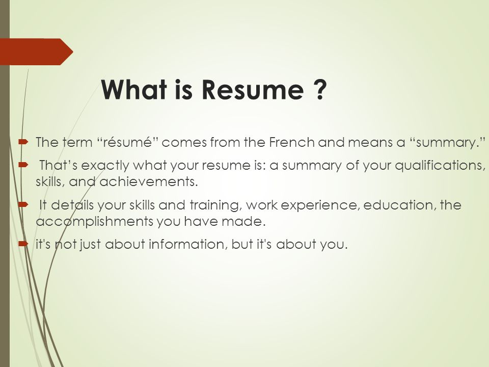 3 what is resume