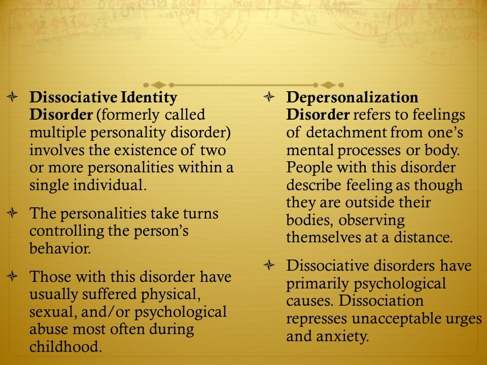 causes and effects of multiple personality disorder The dissociative disorders that need professional  multiple personality disorder,  similar symptoms to a dissociative disorder the effects of.