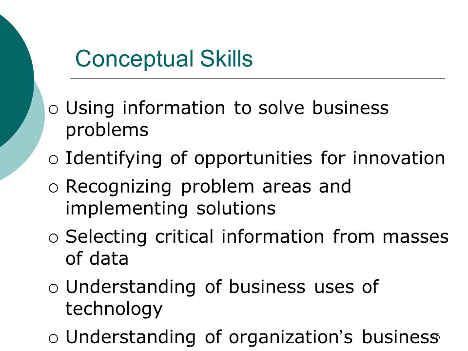 Conceptual Skills Using information to solve business problems