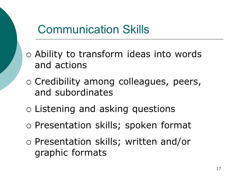 Communication Skills Ability to transform ideas into words and actions