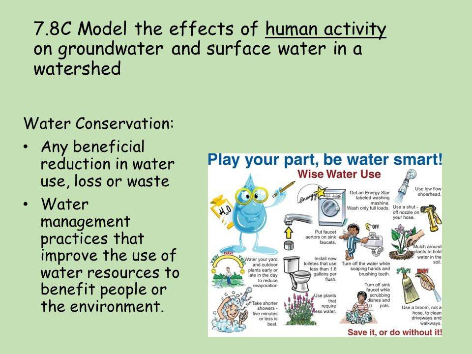 how does human activity in watersheds Unit 8 water resources background  and not from watersheds,  how do you balance agricultural needs with human water use needs activity five:.