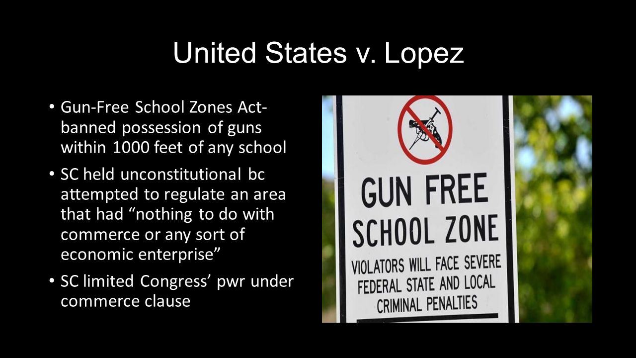 us v lopez The us court of appeals, fifth circuit, and the spreme court in us v lopez  struck down the gun-free school zone act as an impermissible expansion of the .
