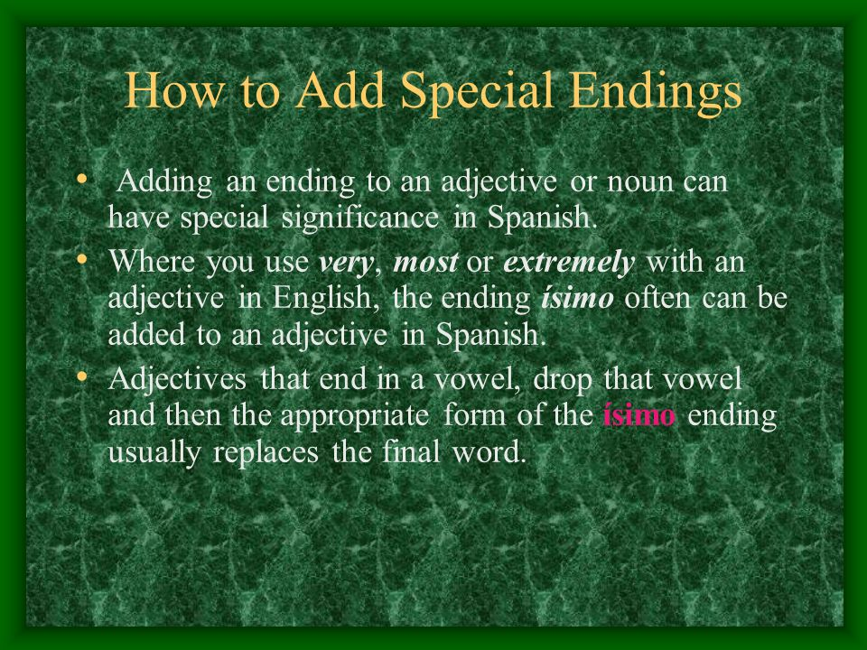 How to Add Special Endings