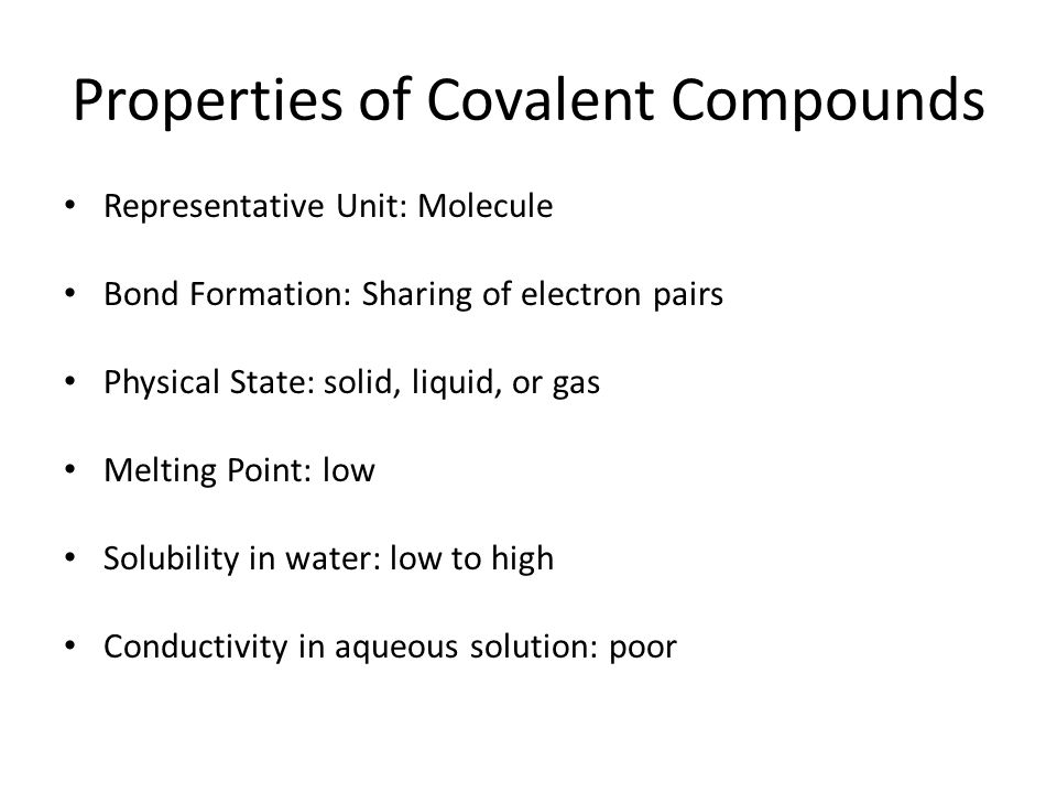 3 06 covalent and ionic properties Comparison of the physcial properties of substances based on different intramolecular forces, metallic, covalent and ionic bonds tutorial for chemistry students.