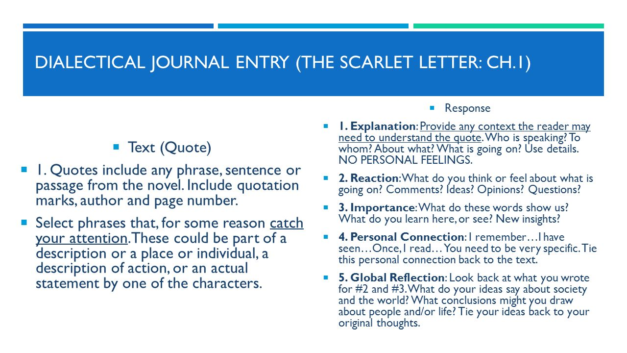 Dialectical Journal Entries For The Scarlet Letter