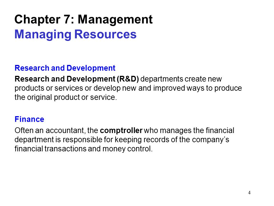 Chapter 7: Management Managing Resources
