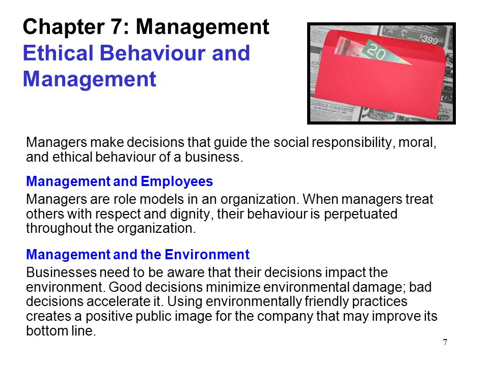 Chapter 7: Management Ethical Behaviour and Management
