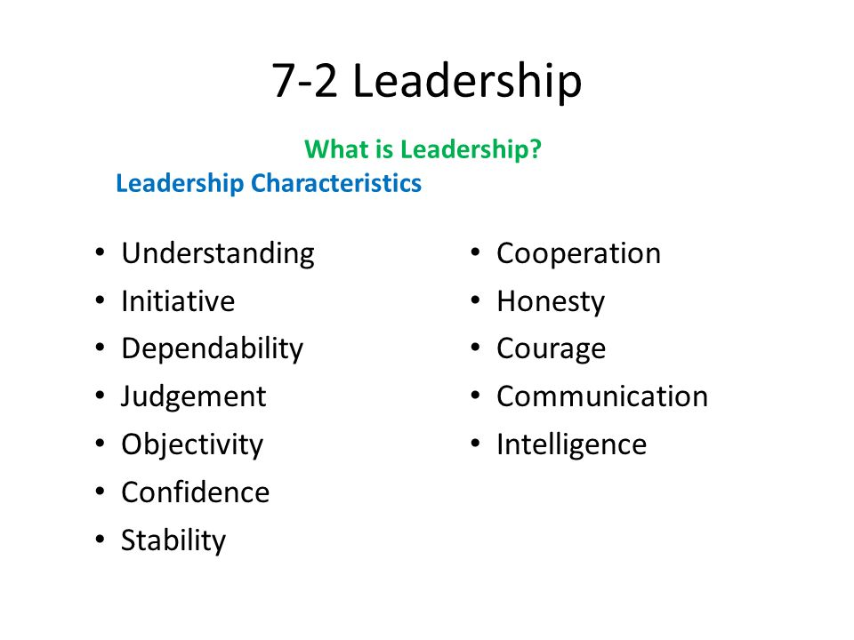 7-2 Leadership Understanding Cooperation Initiative Honesty