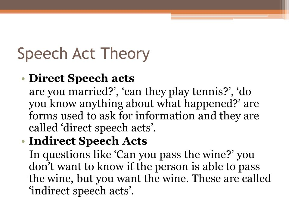 speech act1 A speech act in linguistics and the philosophy of language is an utterance that has performative function in language and communication according to kent bach.