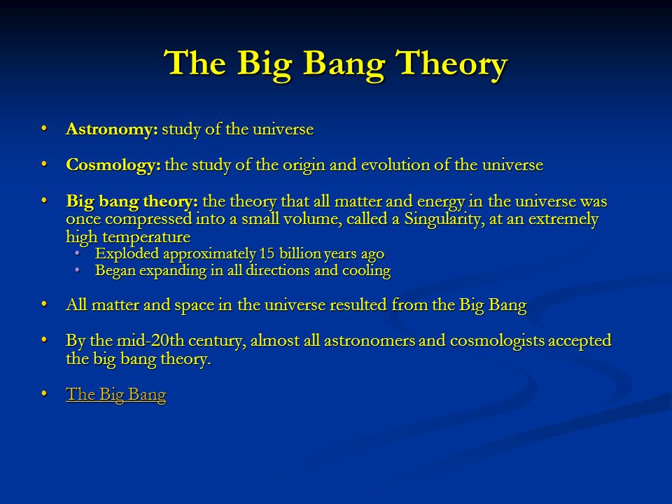 a discussion of the big bang theory How are light and heavy elements formed (advanced)  according to the big bang theory,  how are light and heavy elements formed.