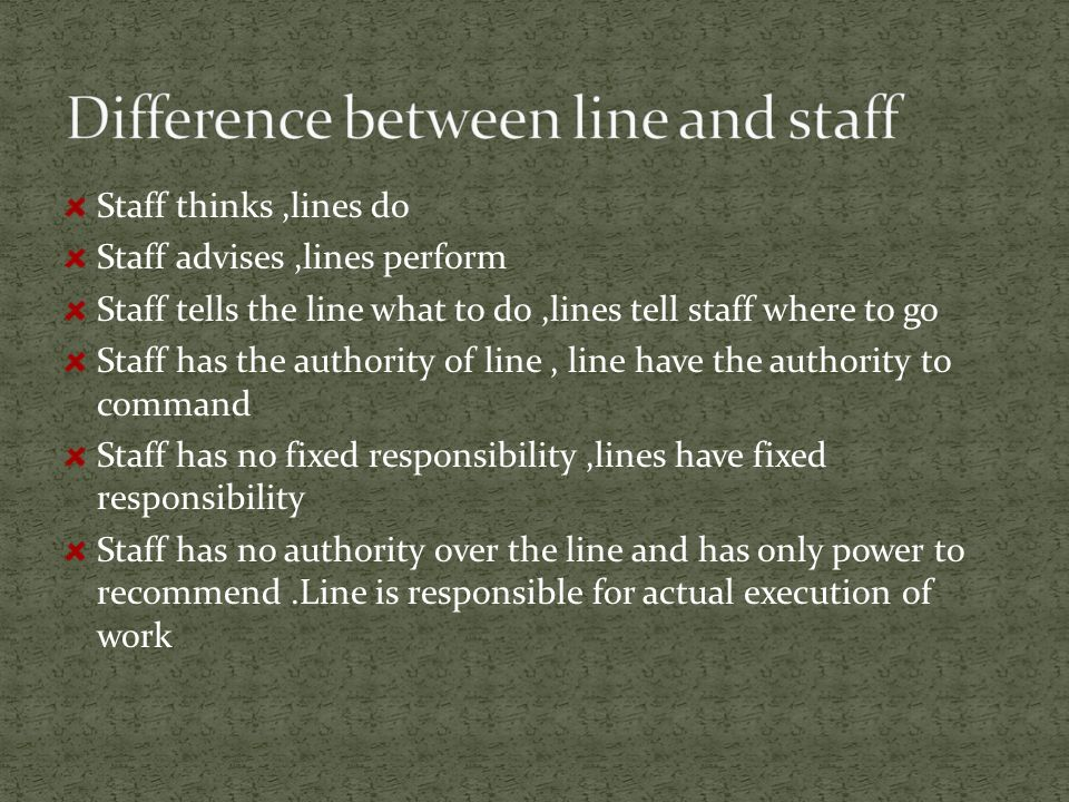 difference between line and staff manager Understand the differences between coaching and mentoring  it also reduces the possibility of creating conflict between the employee's manager and the mentor.