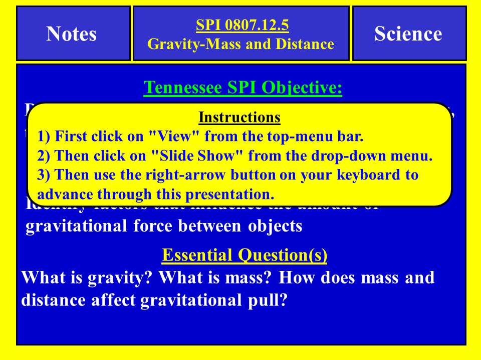 describe the relationship between gravity mass and distance