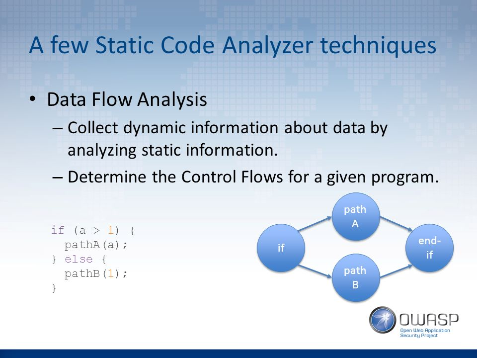 dynamic code analysis What are the advantages and limitations of static and dynamic software code analysis maj michael kleffman of the air force's application software assurance center of excellence spelled it out.