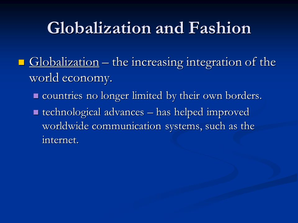 a description of globalization as the integration of world economies Globalization, growth, and poverty: the new wave of globalization and its economic effects 23 integration with the world economy affects employment.