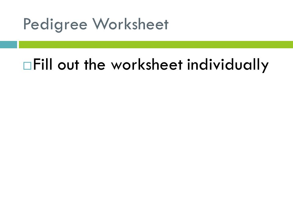 Inheritance Unit ppt download – Pedigree Worksheet