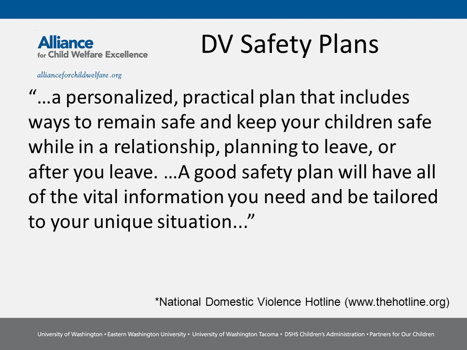 Child Welfare Safety Plans Vs Domestic Violence Safety Plans - Ppt